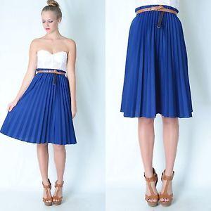 Vintage 80s Navy Blue Accordion Pleated Skirt Dress M L Knee ...