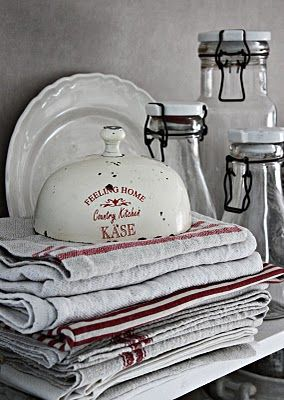 Vintage, red & white tea towels, kitchen towels, cottage appeal, jars, plate