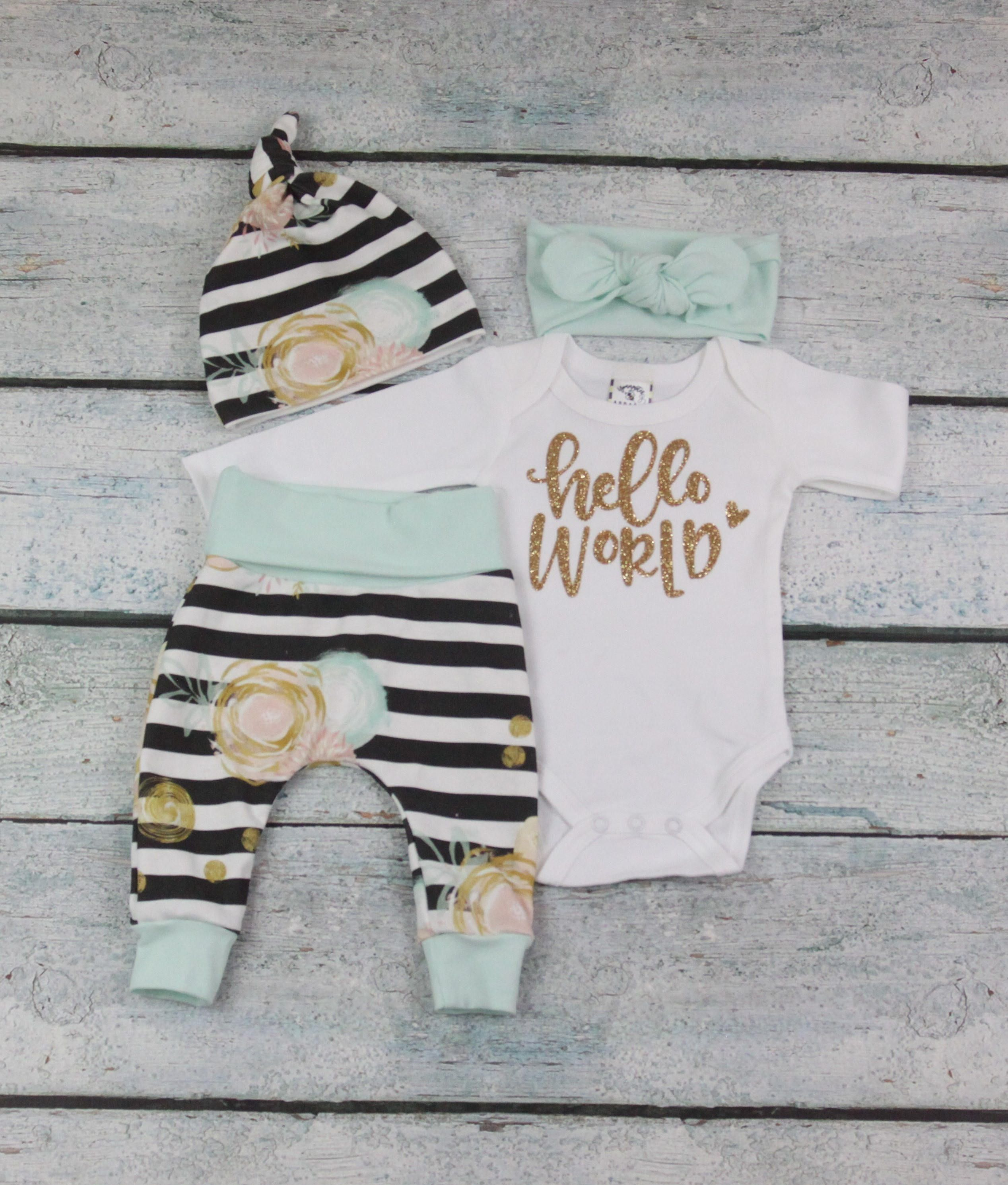 209219afc854 baby girl home coming outfit coming home outfit newborn set hello world  outfit  organic cotton by bibitibobitiboutique on Etsy