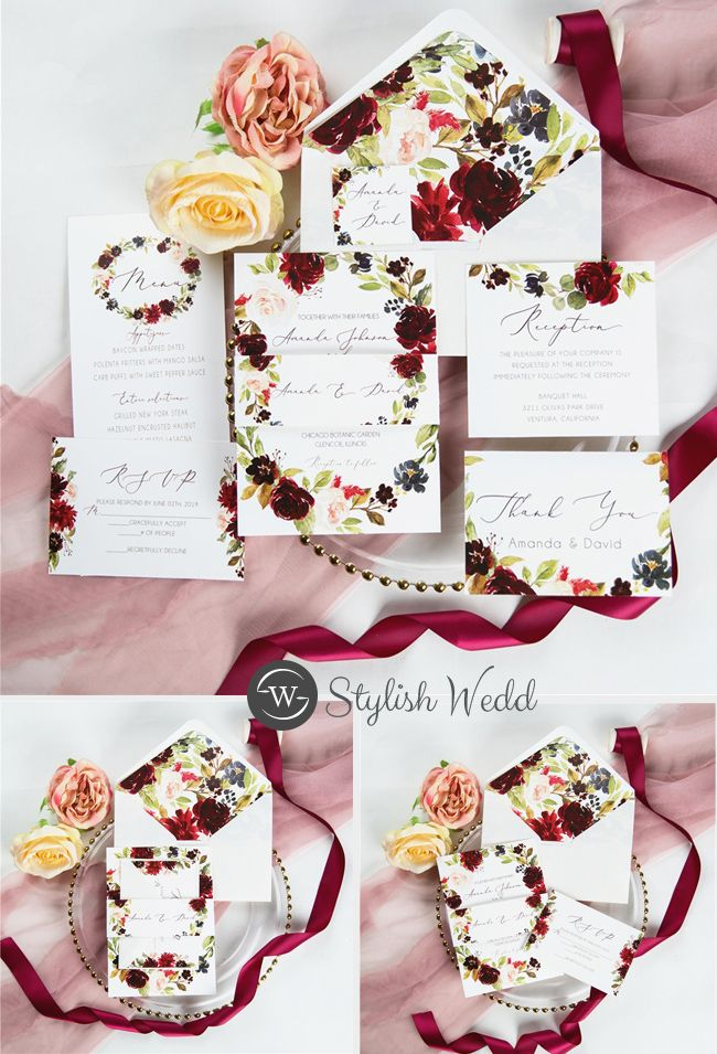 marsala peach and navy flower bloom wedding invitation