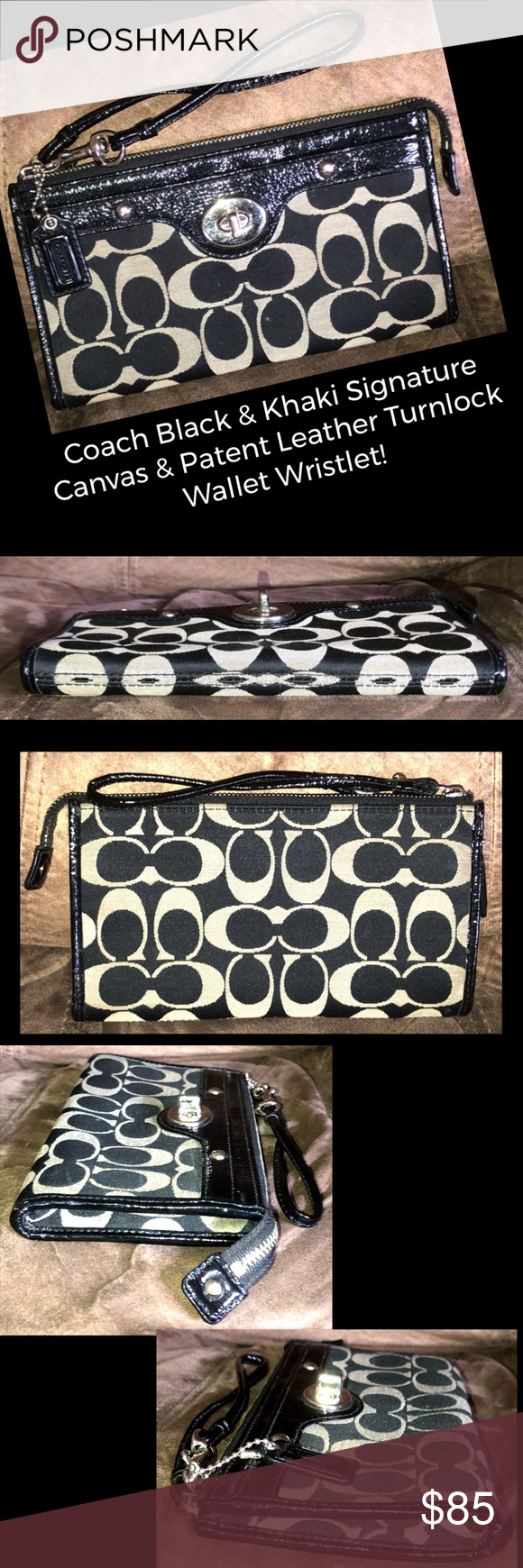 Coach Canvas & Leather Turnlock Wallet Wristlet! C