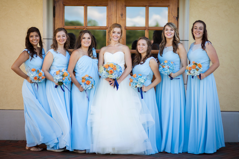 Light blue bridesmaid dresses blue and peach bridesmaid bouquets light blue bridesmaid dresses blue and peach bridesmaid bouquets summer wedding decorah iowa ombrellifo Images