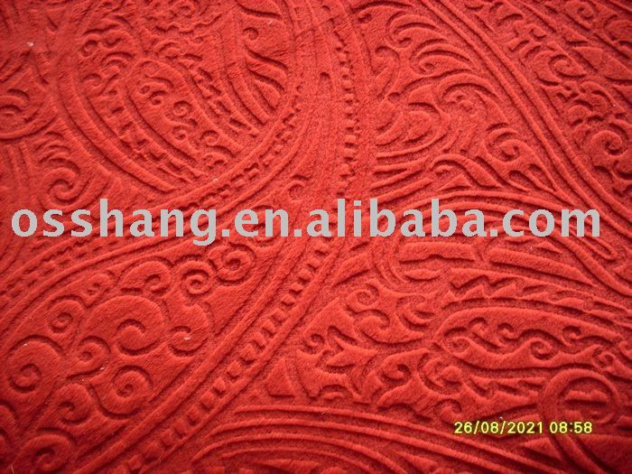 knitted burn out coral velvet fabric