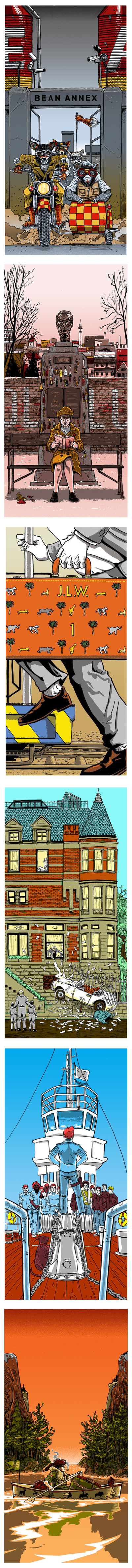 Prints inspired by scenes of Wes Anderson films, by artist Tim Doyle.