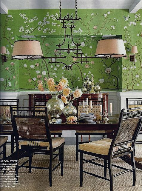 Chinoiserie lighting. Incorporate Degourney wallpaper into ...