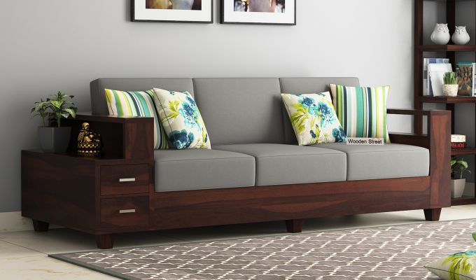Buy Solace Wooden Sofa 3 1 1 Set Walnut Finish Online In India Wooden Street Wooden Sofa Designs Living Room Sofa Design Sofa Bed Design