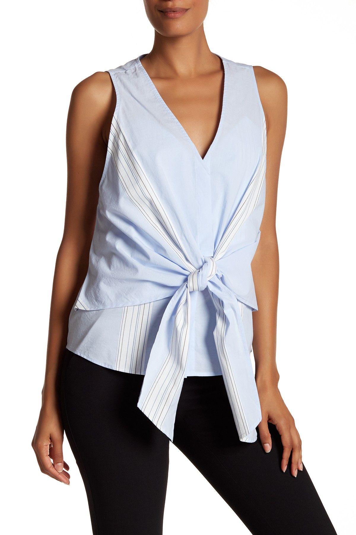 Derek lam crosby sleeveless tie front blouse fashion women