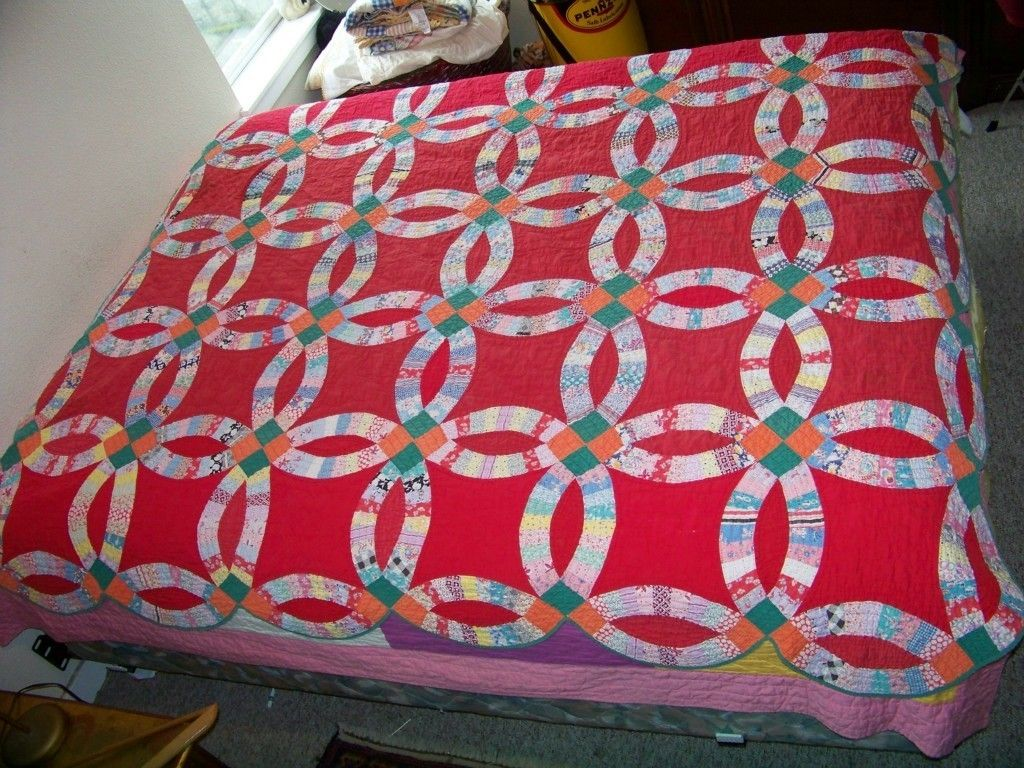 Antique Hand Made Red Cotton Sugar Sack Feed Bag Wedding Ring Quilt ...
