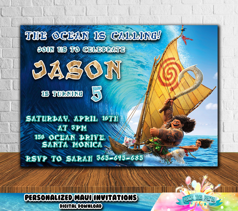 MAUI BIRTHDAY INVITATION,Disney Moana invitations,birthday printable ...