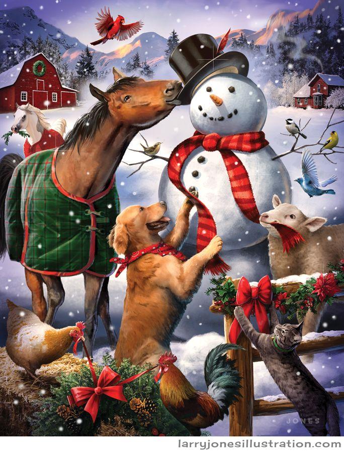 Barn Animals Building a Snowman by Larry Jones, digital