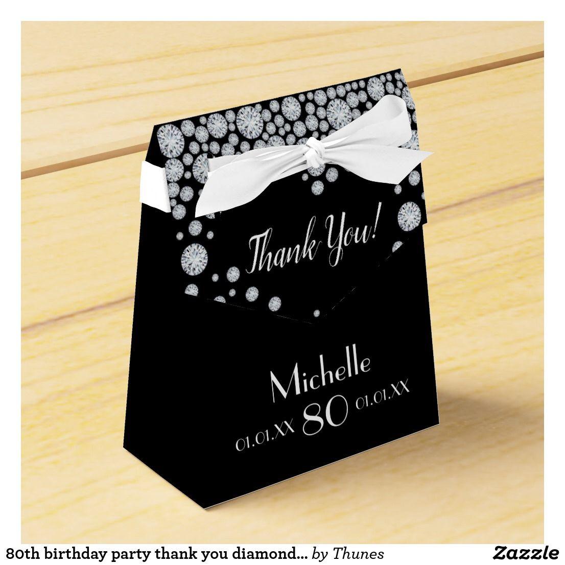 80th birthday party thank you diamonds black white favor