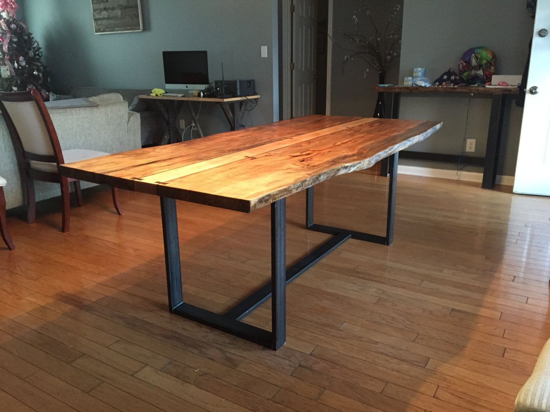 raw edge dining table. Ambrosia Maple Live Edge Dining Table Steel Legs Natural Light Walnut Kitchen Modern Raw U