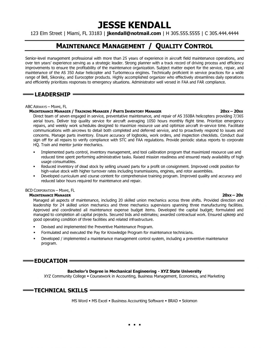 apartment maintenance resume sample  best resume examples