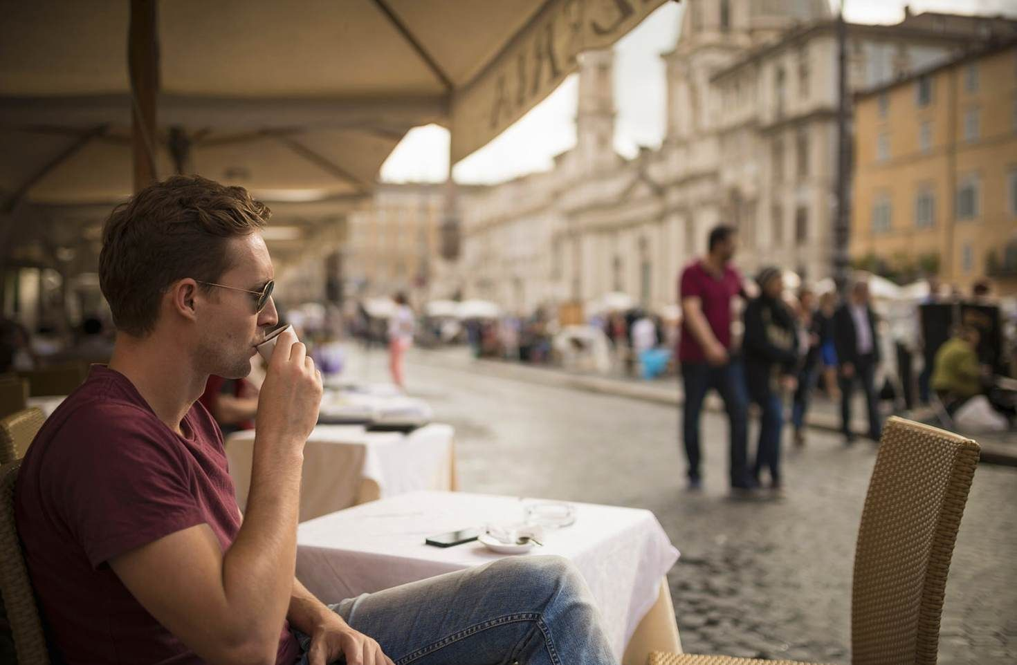 Taking a break to watch the world go by in Rome's Piazza Navona