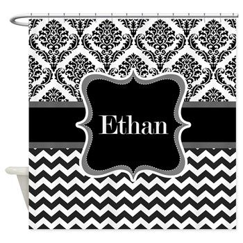Personalise Name Ethan, Initials, Shower Curtain