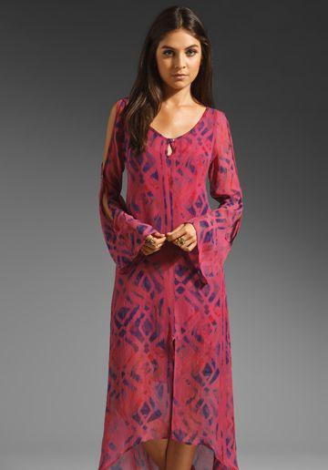 Gypsy 05 Dianne Open Shoulder Dress in Raspberry