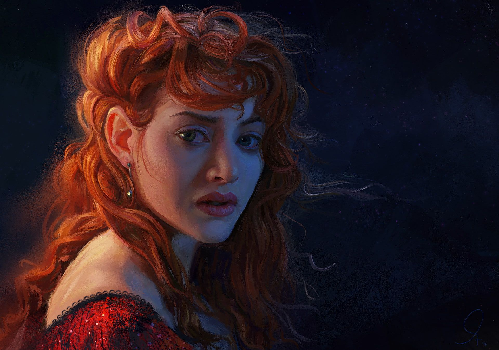 Kate Winslet Women Redhead Digital Art 1080p Wallpaper Hdwallpaper Desktop In 2020 Titanic Art Portrait Kate Winslet