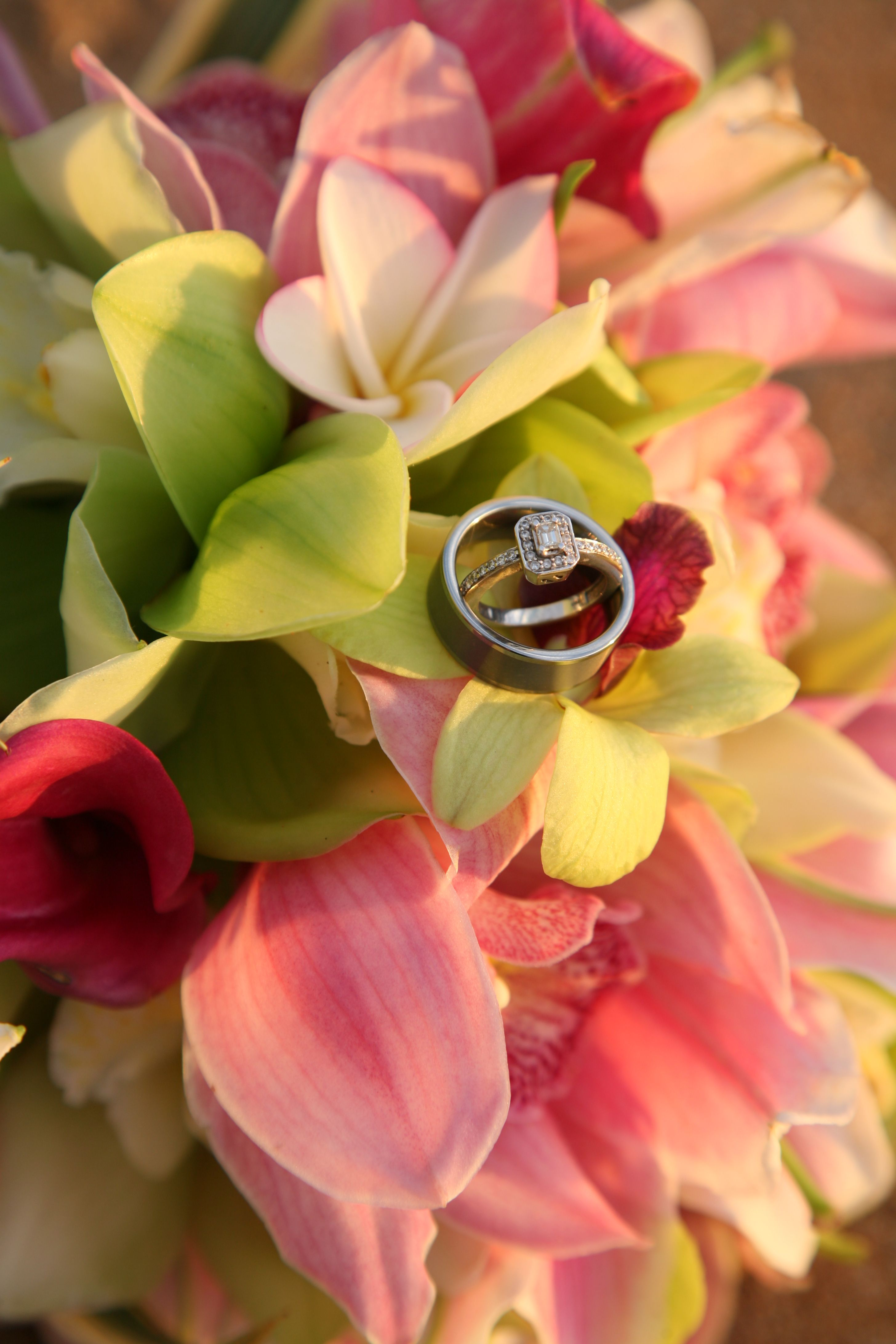 The Hawaiian Wedding Bouquet With Our Rings Our Wedding Maui
