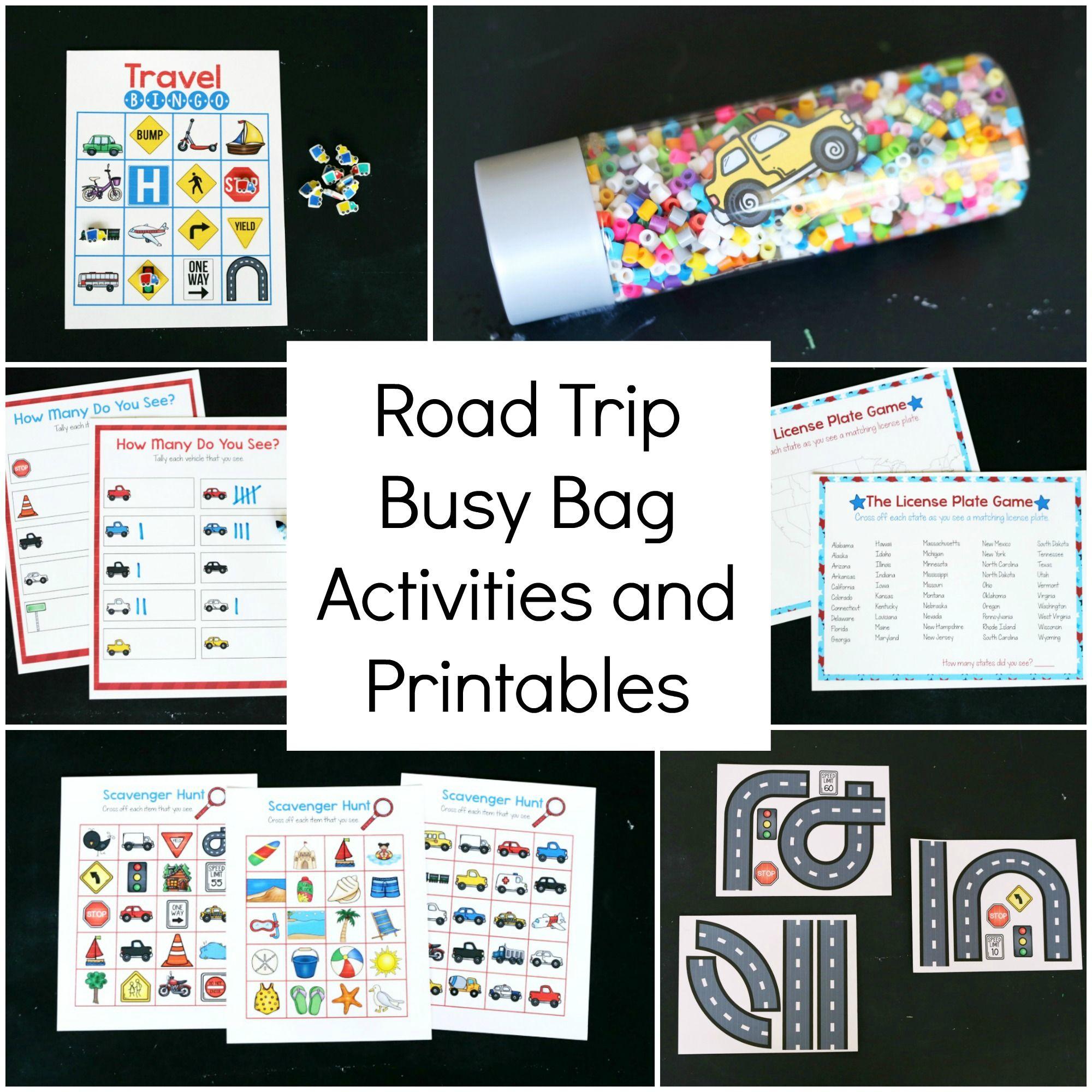 Printable Road Trip Busy Bag Activities