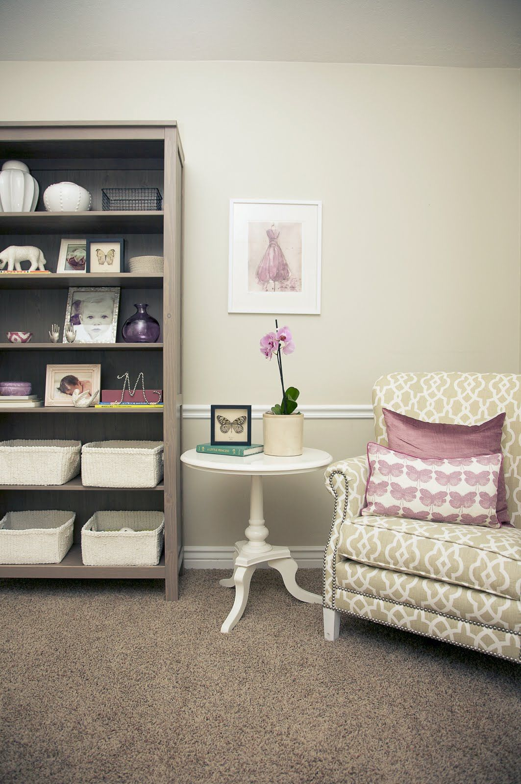 Caitlin Creer Interiors: The Lavender Nursery   love that side table for her room or ours!