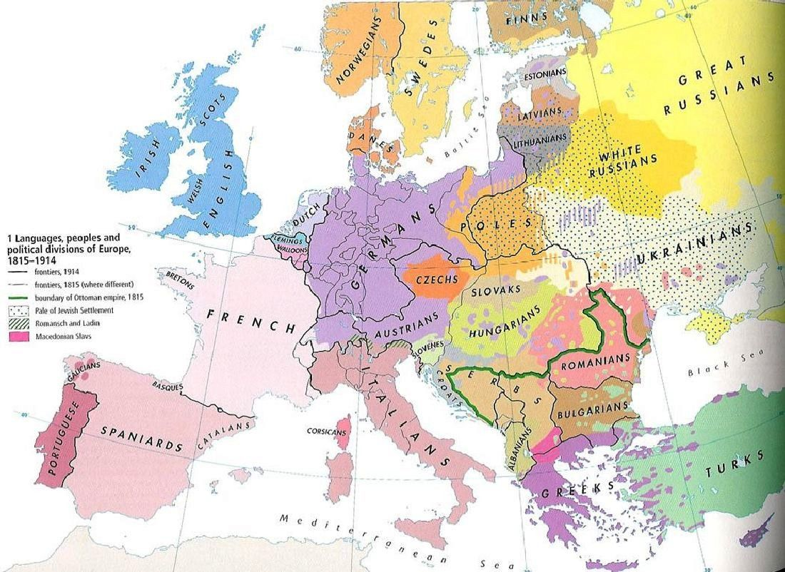 1815 1914 Ethnic map of Europe pre WW1 History World War I July 28th 19