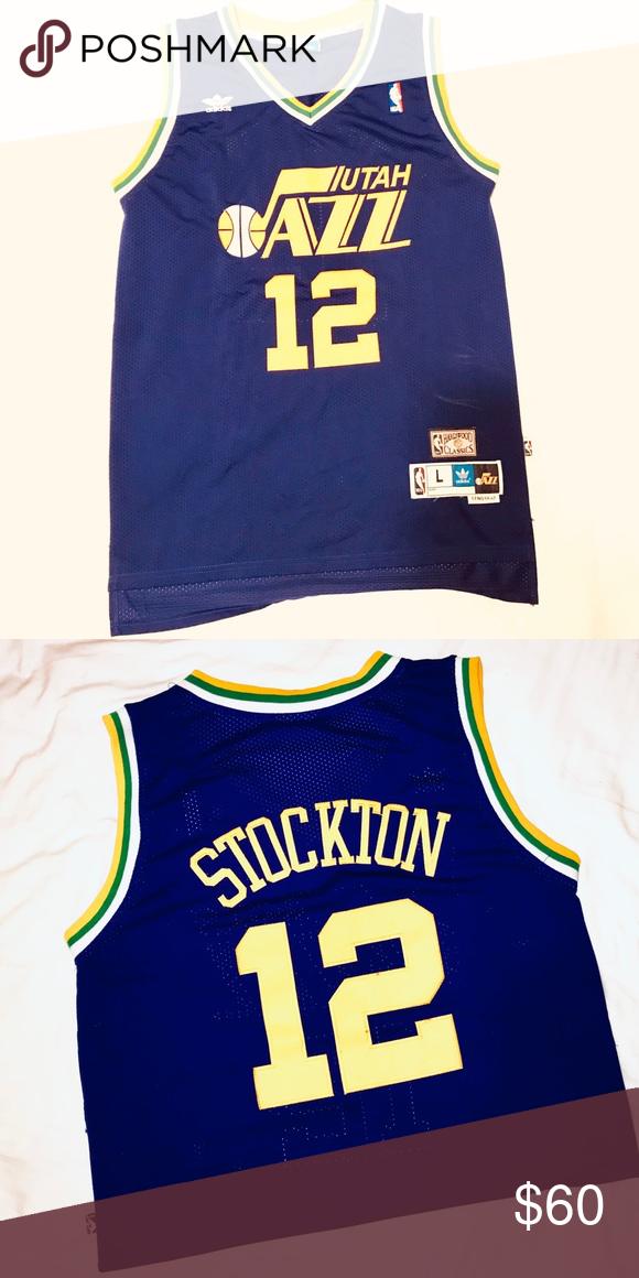 size 40 4a723 348eb Utah Jazz John Stockton Retro Adidas NBA Jersey Utah Jazz ...