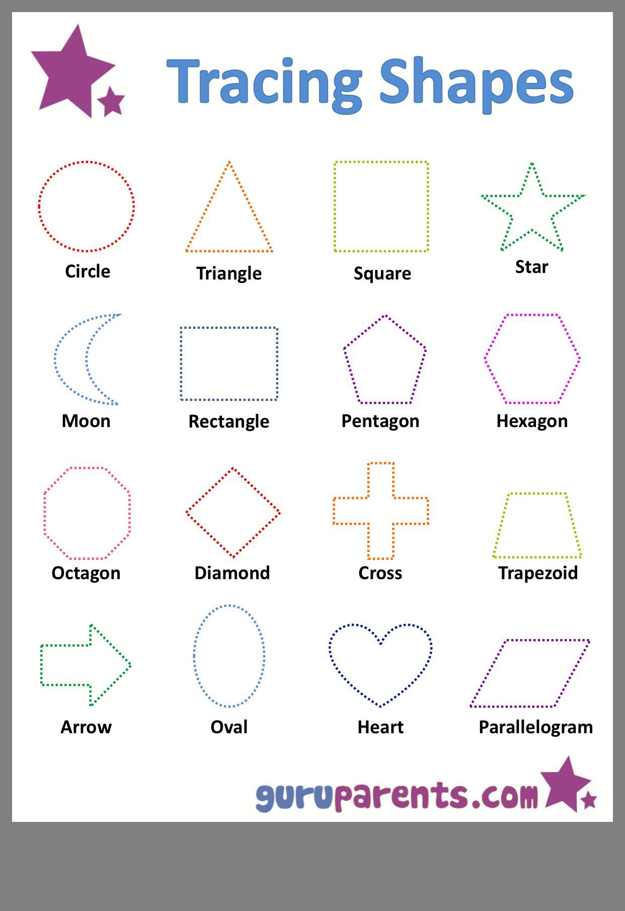 Preschool Worksheet Shapes Trace