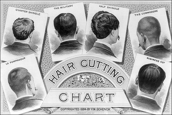An Illustration Print Of A Classic Barber Shop Haircut Chart 1884