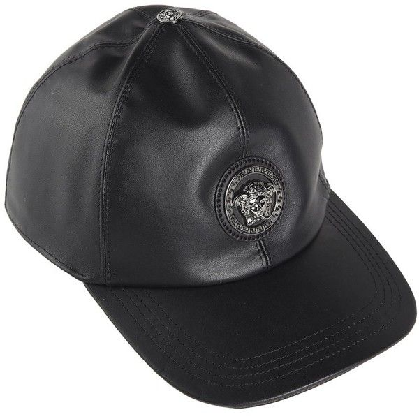20e388cbefc8 Versace Medusa Leather Baseball Cap (1.100 BRL) ❤ liked on Polyvore  featuring accessories, hats, nero, leather hat, ball cap hats, baseball  hat, ...