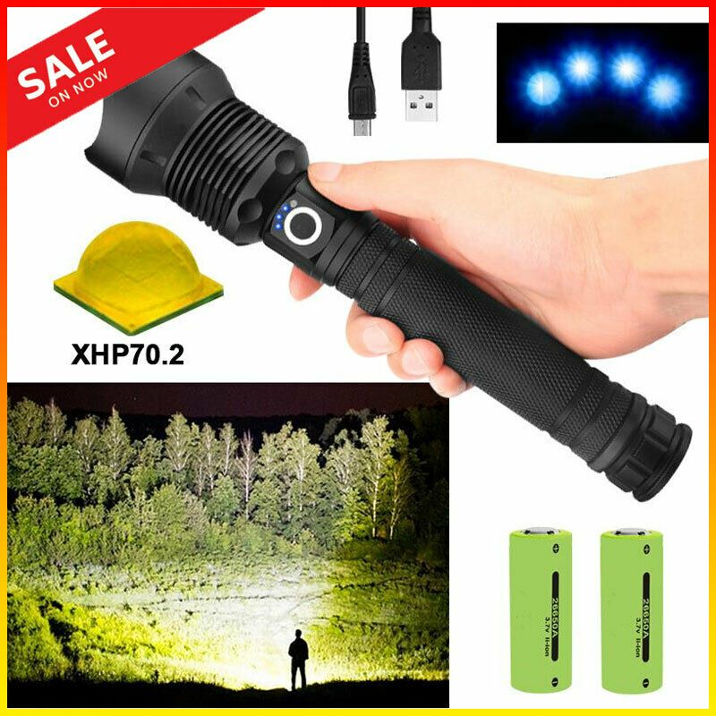 Led Flashlight Super Bright xhp70 Torch Lamp Flashlight USB Charging 3 Modes AU