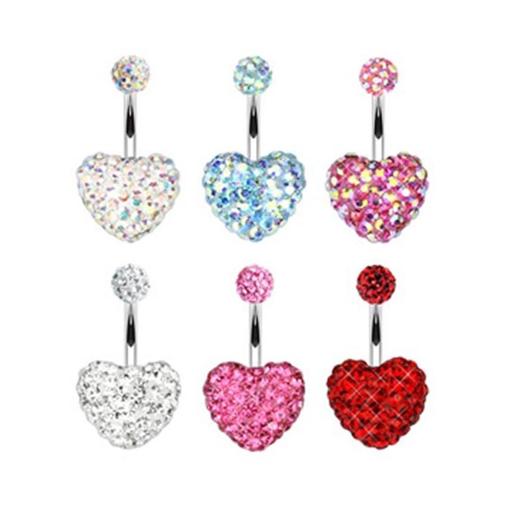 Best nose piercing jewelry  Surgical Steel Navel Belly Button Ring Multi Gem Heart Ferido