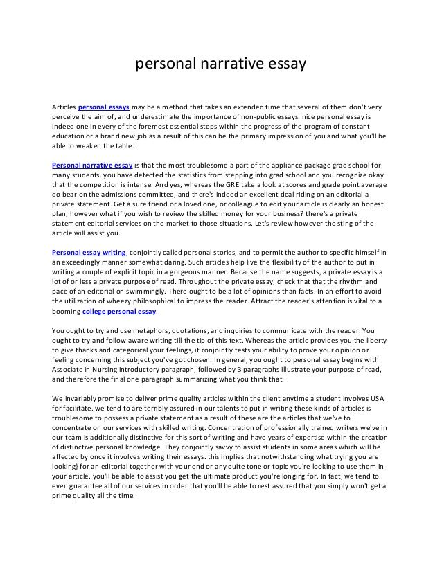 Wonderful Example Of Narrative Essay About Family. PERSONAL NARRATIVE/COLLEGE ESSAY  SAMPLES NAME:_____ PROFESSIONAL EXAMPLE #1 Dishing Dirt By Emily White The  Day I ...