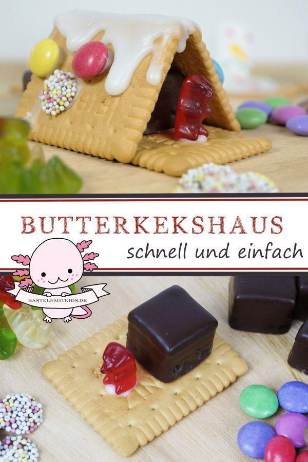 Photo of Basteln mit Kindern- Butterkeks Haus selber machen
