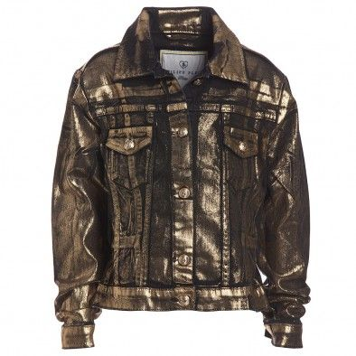 METALLIC TREND 2014??? Philipp Plein Girls Gold Denim Jacket ($600-300+)