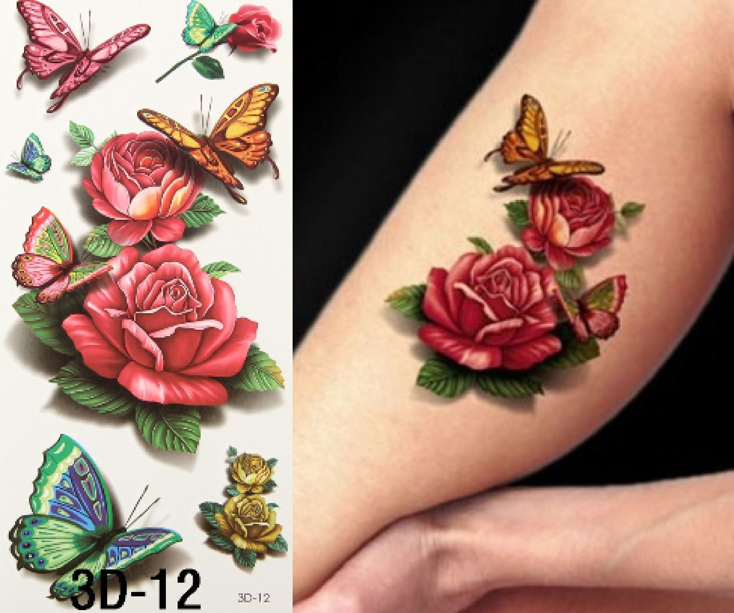 28761a2800add Temporary Tattoo Rose, Floral Temporary Tattoo, Butterfly, Butter Fly,  Watercolor, Watercolour, Set, Vintage, Art, Design, 3D Tattoo