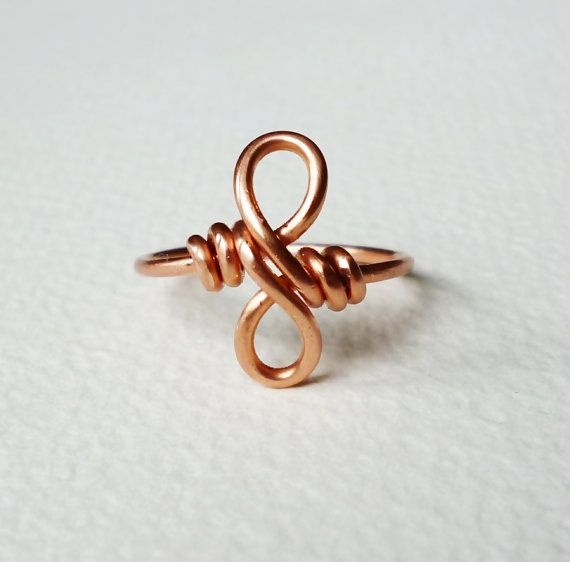 .Copper infinity ring, best friend infinity ring, Copper jewelry,Wire ring.