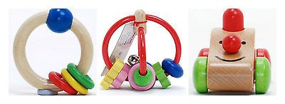 Busy Kids Learning Wood Rattles-Rattle Ring-Activity Rattle-Press & Squeak Buggy