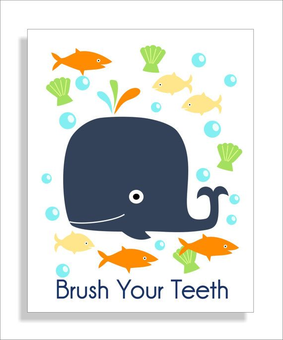 Whale Fish and Turtle Children\'s Wall Art Kid\'s by FieldandFlower ...