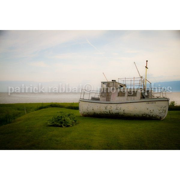 Charlevoix Boat Photo Ready to Ship 5x7 With White Borders Fine Art... ($15) ❤ liked on Polyvore featuring home, home decor and wall art