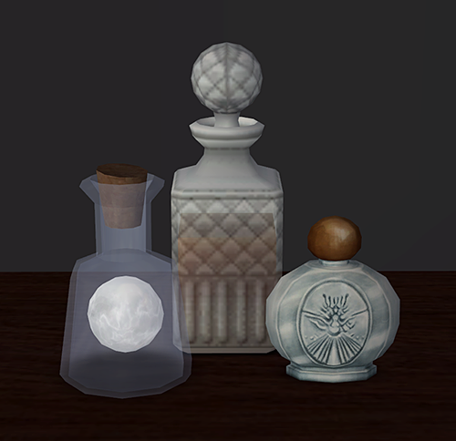 """""""A Small Offering of Converted TSM Clutter (+ recolours) And by small I mean it's three base-game compatible deco/misc objects. So yeah. The little orb has a fancy revolving texture though, woooh. Swatches: -> Orb in a Jar -> Decanter -> Vial of Holy..."""