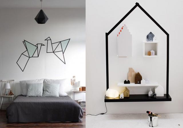 20 id es d co diy avec du masking tape masking tape. Black Bedroom Furniture Sets. Home Design Ideas
