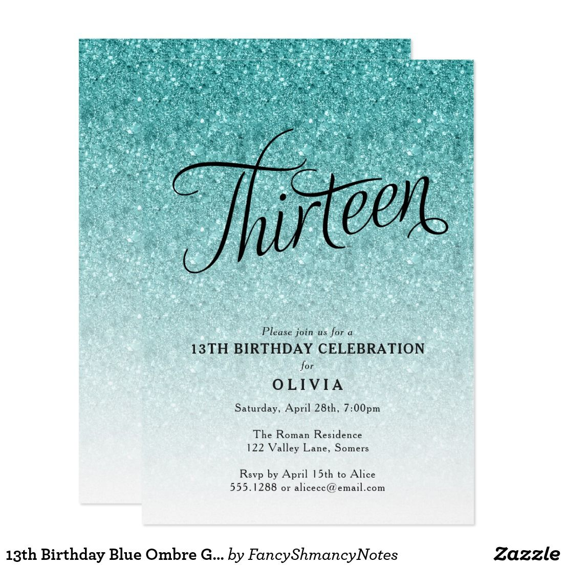 13th birthday blue ombre glitter invitation in 2018 happy