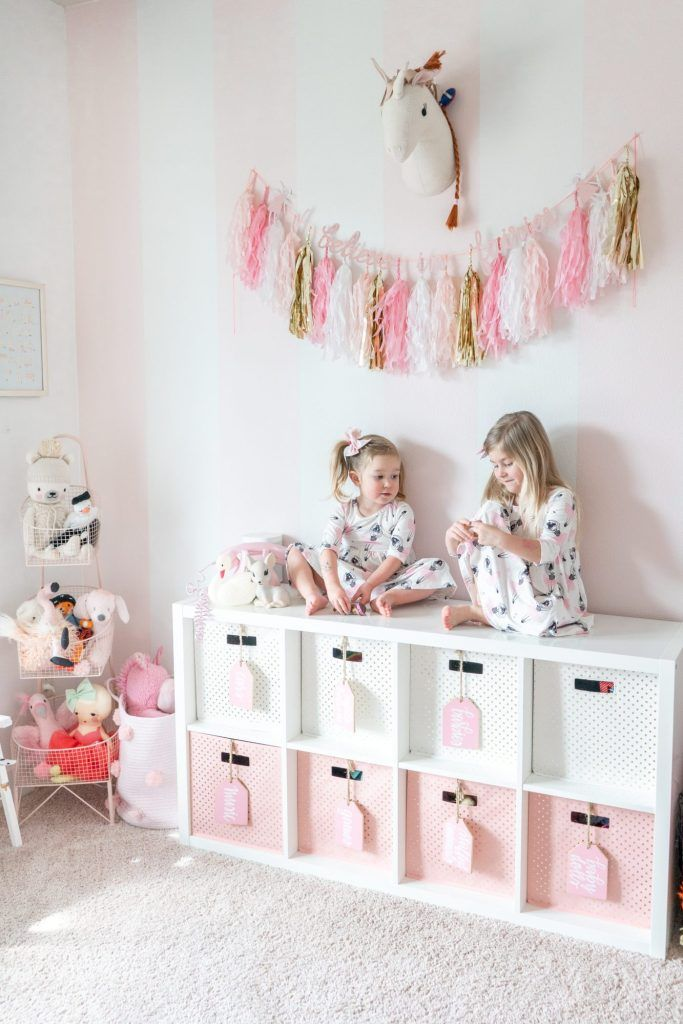 Photo of Pink and White Striped Girls Playroom with Gold Accents –