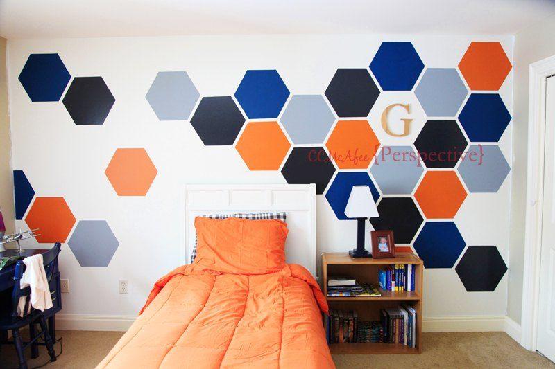 How To Paint A Tween Boy Room Hexagon Accent Wall Diy Boys Bedroom Paint Bedroom Wall Bedroom Diy