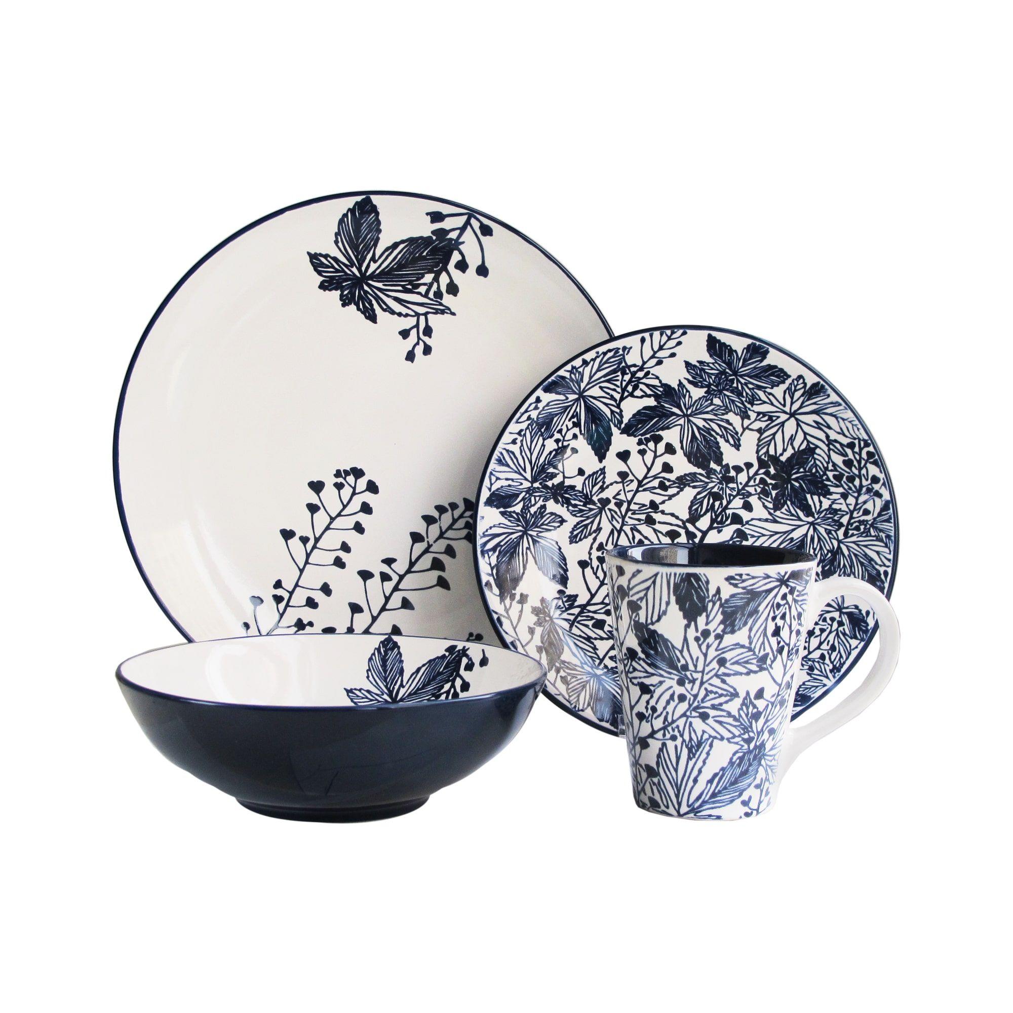 American Atelier Floral Indigo 16-piece Dinnerware Set by American Atelier  sc 1 st  Pinterest & American Atelier Floral Indigo 16-piece Dinnerware Set   Overstock ...
