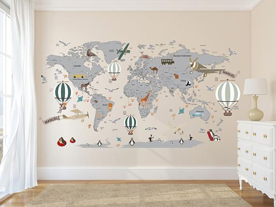 Airplane world map decal clear vinyl decal boys room decals airplane world map decal clear vinyl decal boys room decals world map mural hot air balloon world map custom name map birds gumiabroncs Choice Image