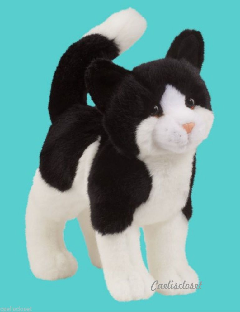 Douglas Scooter Black White Cat Plush Stuffed Standing Cuddle Toy