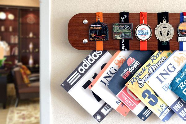 Another cool way too show off your medals and bibs!