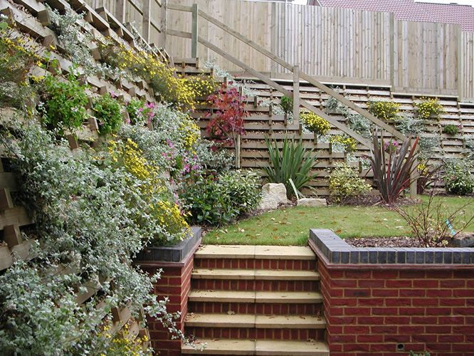 Planted Crib Retaining Walls Plants Front Garden Crib Wall