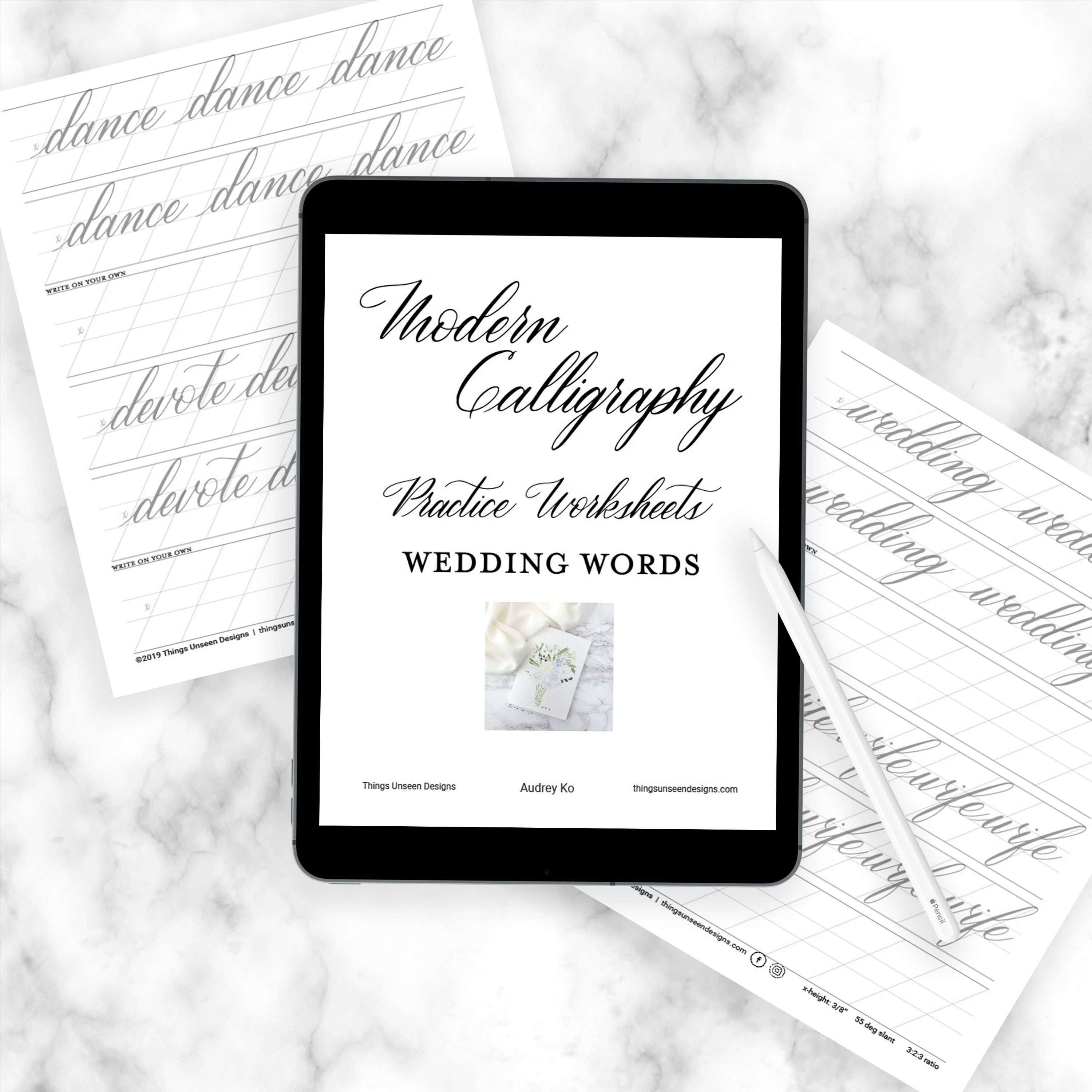 Modern Calligraphy Worksheets Wedding Words